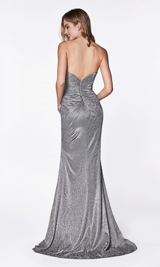 Back of Cinderella Divine CF331 light Grey metallic dress