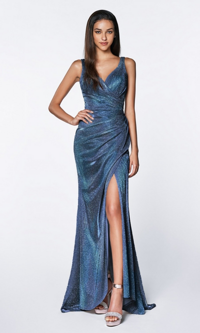 Cinderella Divine CF332 long metallic blue metallic dress
