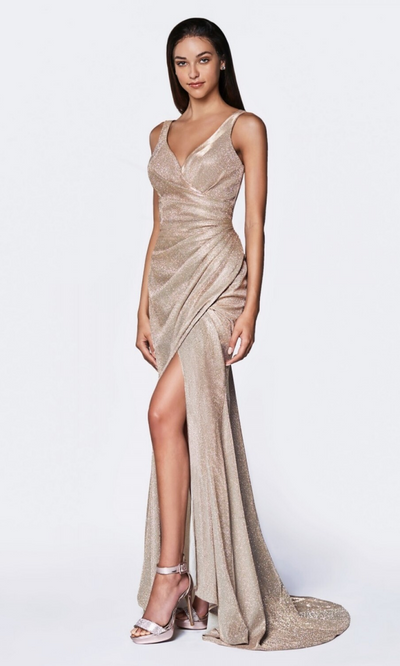 Cinderella Divine CF332 long metallic champagne gold metallic dress