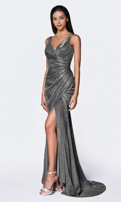 Cinderella Divine CF332 long metallic charcoal grey metallic dress