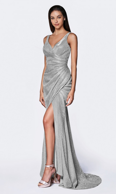 Cinderella Divine CF332 long metallic light silver metallic dress