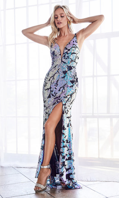 Cinderella Divine CF346 sequin beaded opal blue halter dress with high slit