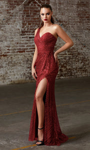 Cinderella Divine CH201 long burgundy red sequin beaded dress w/ one shoulder & high slit. This sleek & sexy dark red evening dress is perfect prom, mother of the bride/groom, engagement dress, formal party wedding guest dress. Plus sizes avail.jpg