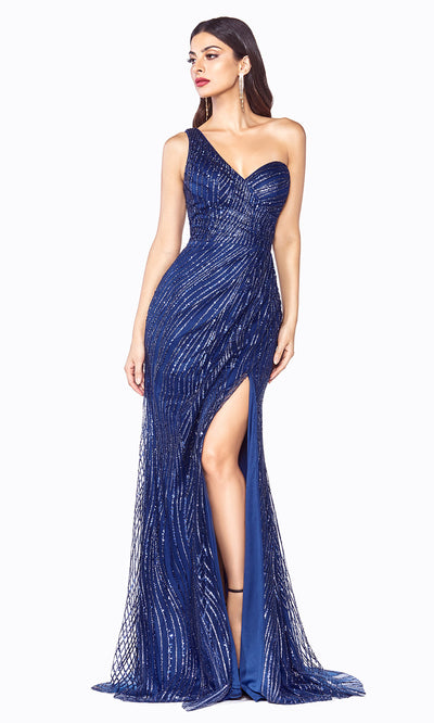 Cinderella Divine CH201 long navy blue sequin beaded dress w/ one shoulder & high slit. This sleek & sexy dark blue evening dress is perfect prom, mother of the bride/groom, engagement dress, formal party wedding guest dress. Plus sizes avail-2.jpg