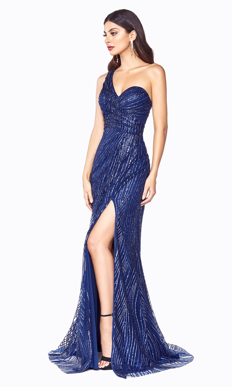 Cinderella Divine CH201 long navy blue sequin beaded dress w/ one shoulder & high slit. This sleek & sexy dark blue evening dress is perfect prom, mother of the bride/groom, engagement dress, formal party wedding guest dress. Plus sizes avail.jpg