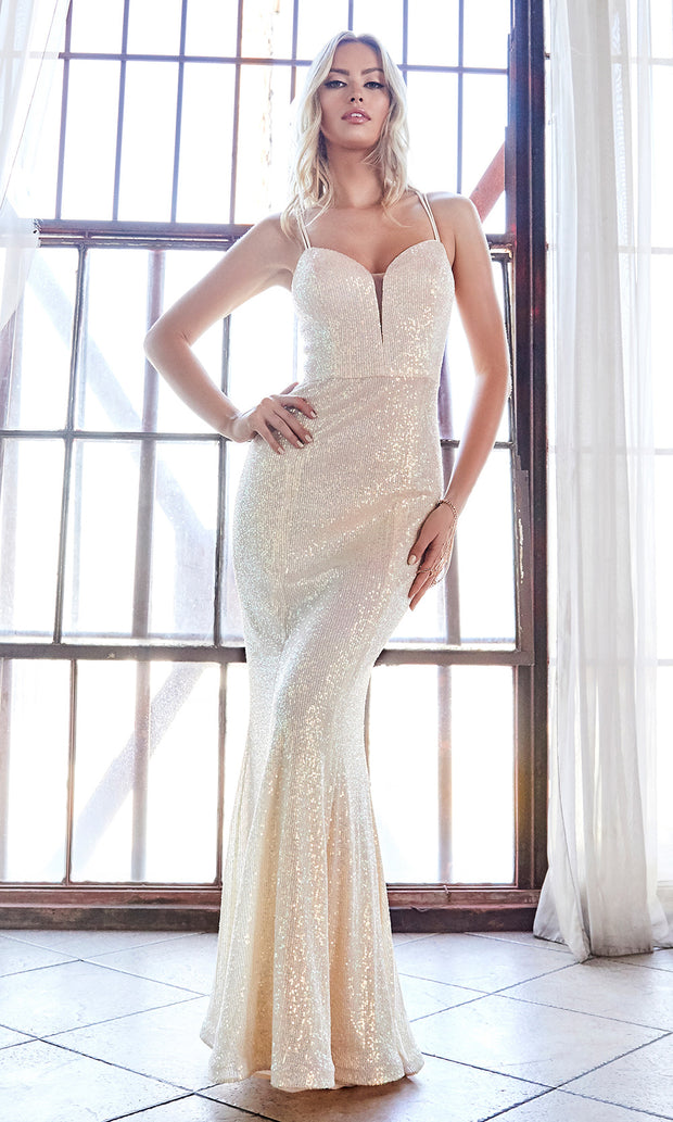 Cinderella Divine CH209 long champagne gold sequin beaded fitted dress.jpg