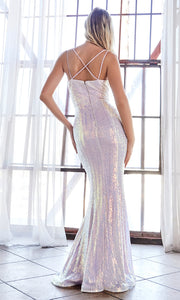 Cinderella Divine CH209 long silver gray sequin beaded fitted dress-back of this dress.jpg