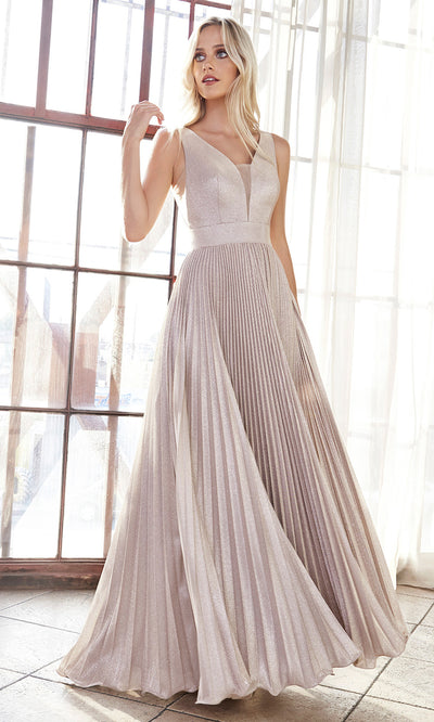 Cinderella Divine CH211 long champagne flowy dress with wide straps, empire waist, and flowy skirt. Plus sizes available.jpg