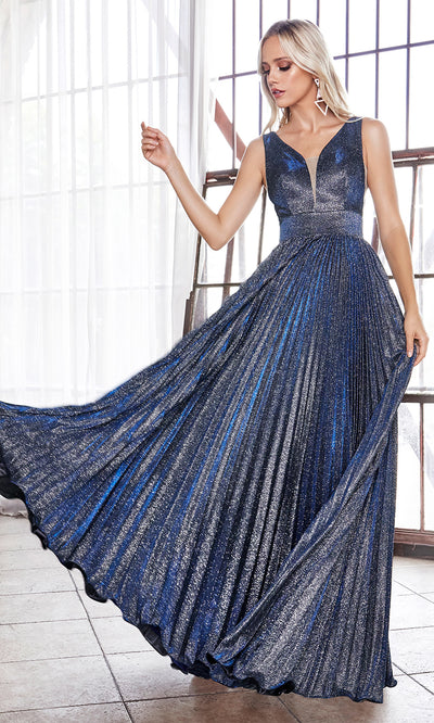 Cinderella Divine CH211 long navy blue or dark blue flowy dress with wide straps, empire waist, and flowy skirt. Plus sizes available-1.jpg