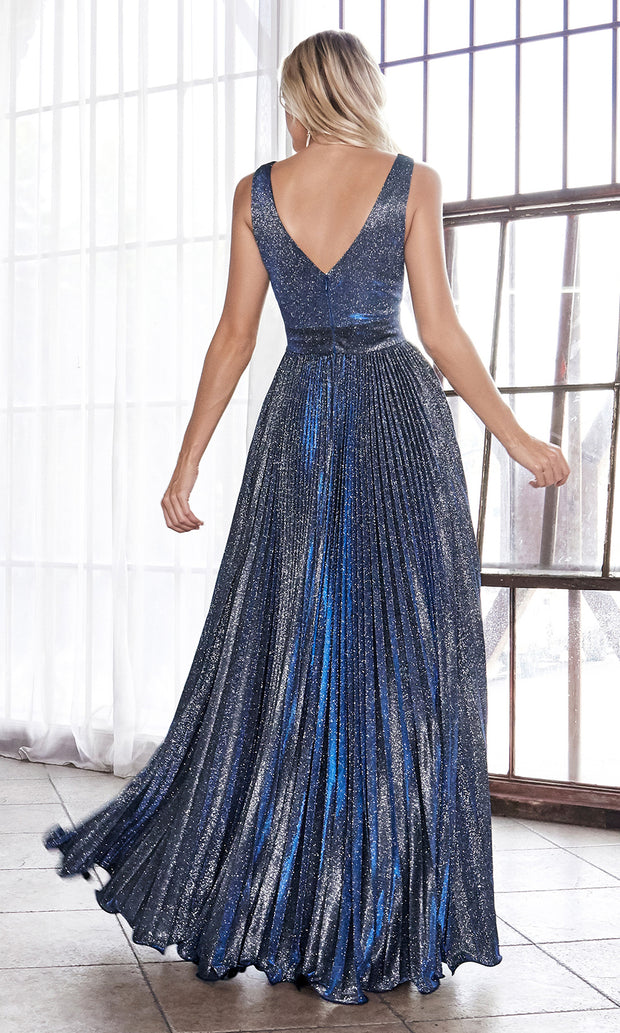 Cinderella Divine CH211 long navy blue or dark blue flowy dress with wide straps, empire waist, and flowy skirt. Plus sizes available.jpg