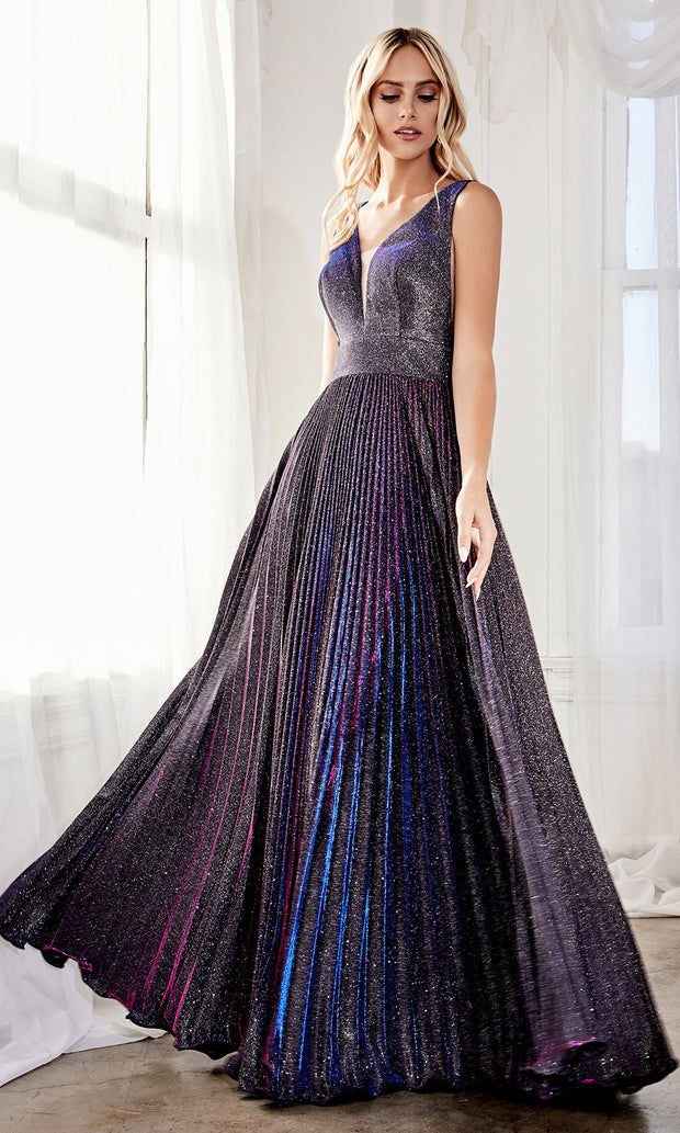 Cinderella Divine CH211 long purple flowy dress with wide straps, empire waist, and flowy skirt. Plus sizes available.jpg