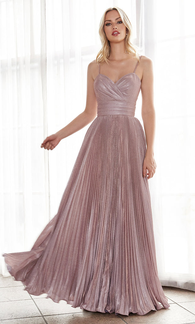 Cinderella Divine CH221 long flowy blush pink dress with straps and pleated skirt.jpg