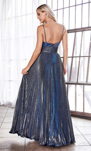 Cinderella Divine CH221 long flowy navy blue or dark blue dress with straps and pleated skirt-back of dress.jpg