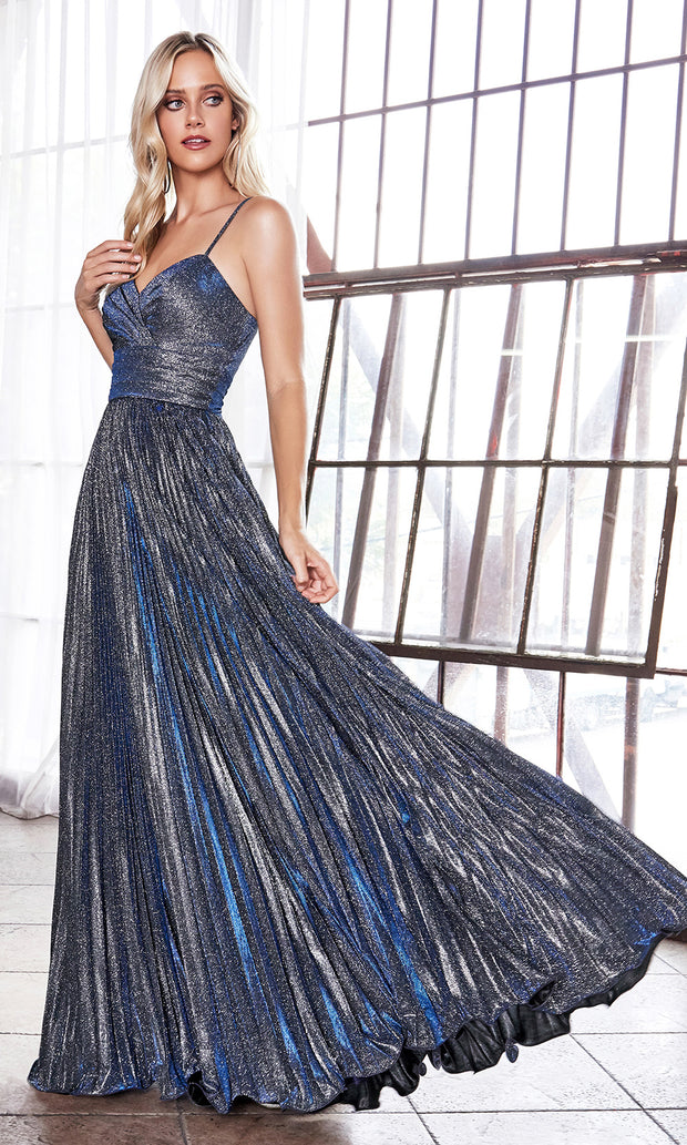 Cinderella Divine CH221 long flowy navy blue or dark blue dress with straps and pleated skirt.jpg