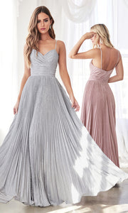 Cinderella Divine CH221 long flowy silver or light grey dress with straps and pleated skirt.jpg
