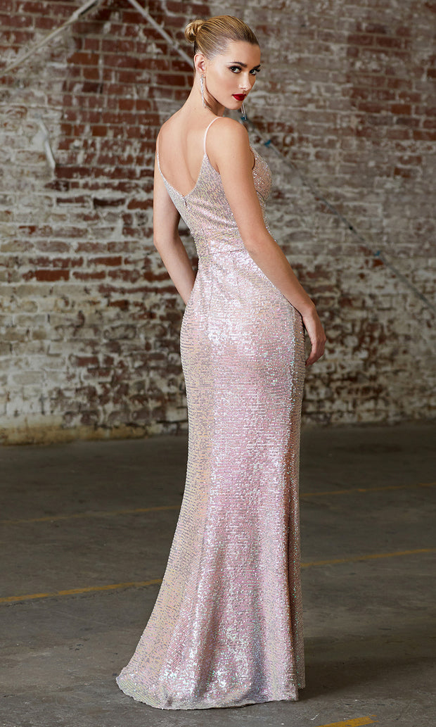 Cinderella Divine CH222 long sequin champagne fitted evening dress with high slit & open back-back of dress is shown.jpg