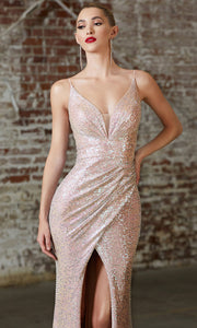 Cinderella Divine CH222 long sequin champagne fitted evening dress with high slit & open back-closeup of front.jpg