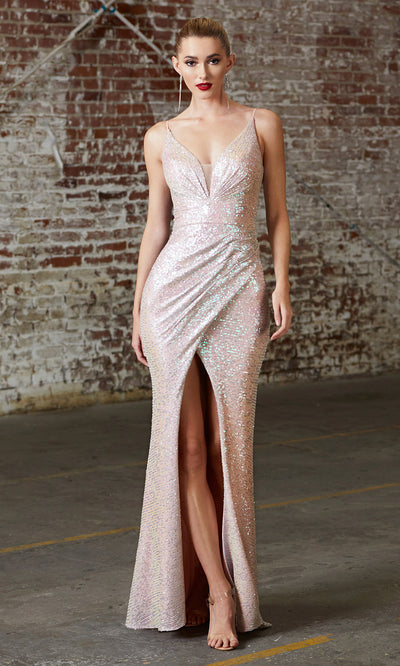 Cinderella Divine CH222 long sequin champagne fitted evening dress with high slit & open back.jpg