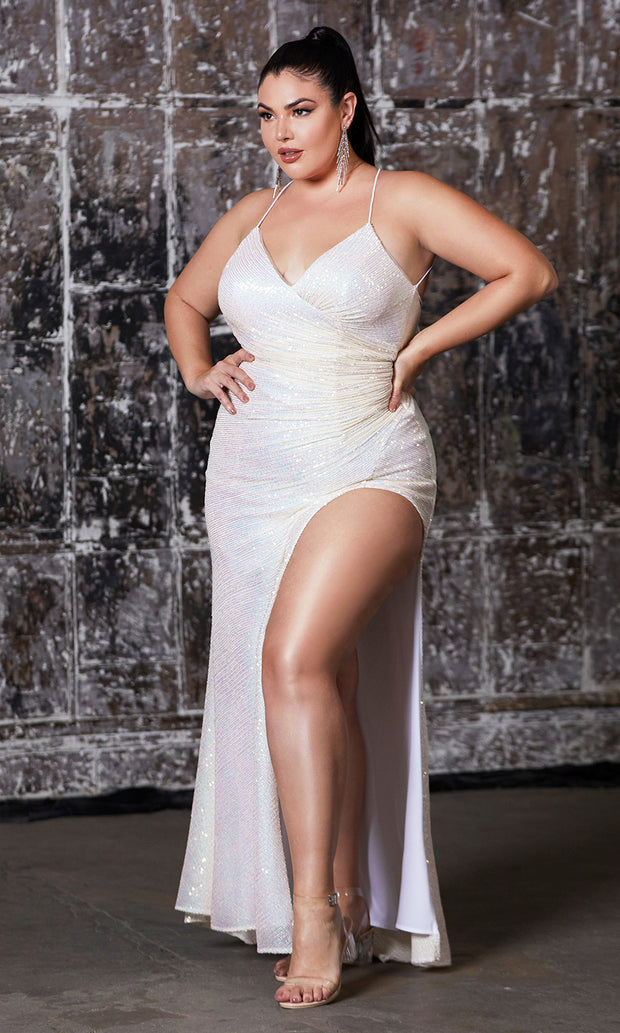 Cinderella Divine CH225C long champagne gold sequin beaded dress with high slit & open back. Plus size available