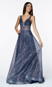 Cinderella Divine CJ256 v neck long sequin glitter dress