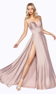 Cinderella Divine CJ523 long blush pink or light pink satin dress with v neck, straps, & high slit. Plus sizes available.jpg