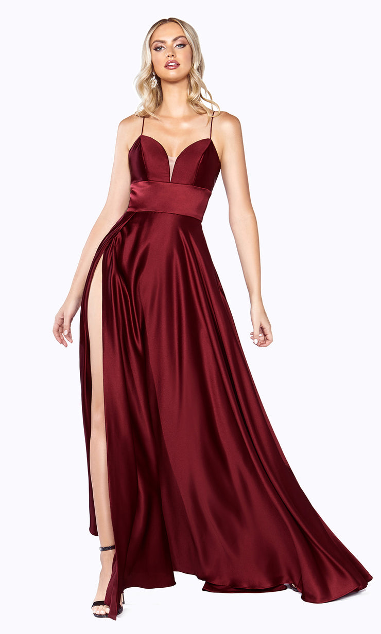 Cinderella Divine CJ523 long burgundy red or maroon or dark red satin dress with v neck, straps, & high slit. Plus sizes available..jpg