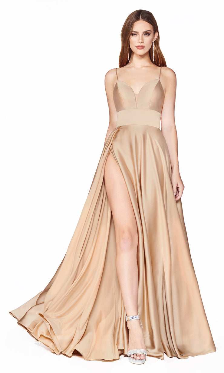 Cinderella Divine CJ523 long champagne gold or light gold satin dress with v neck, straps, & high slit. Plus sizes available.jpg