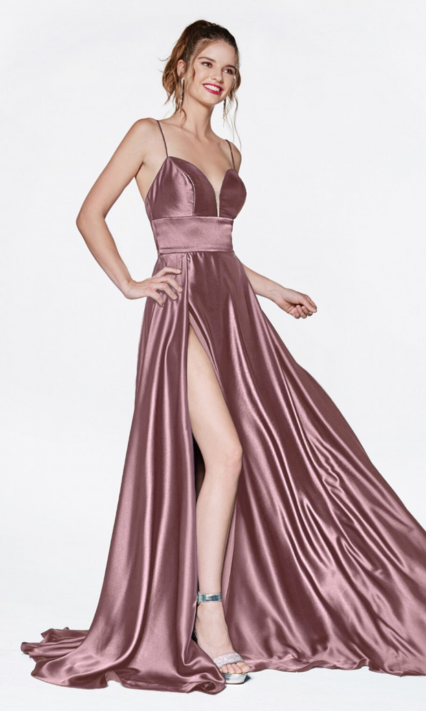 Cinderella Divine CJ523 long mauve or dark mauve satin dress with v neck, straps, & high slit. Plus sizes available.jpg