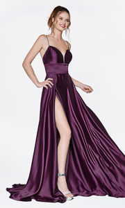 Cinderella Divine CJ523 long eggplatn or dark purple satin dress with v neck, straps, & high slit. Plus sizes available.jpg
