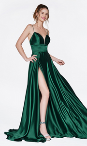 Cinderella Divine CJ523 long emerald or dark green satin dress with v neck, straps, & high slit. Plus sizes available.jpg