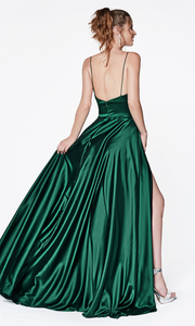 Cinderella Divine CJ523 long emerald green or dark green satin dress with v neck, straps, & high slit. Plus sizes available-b.jpg