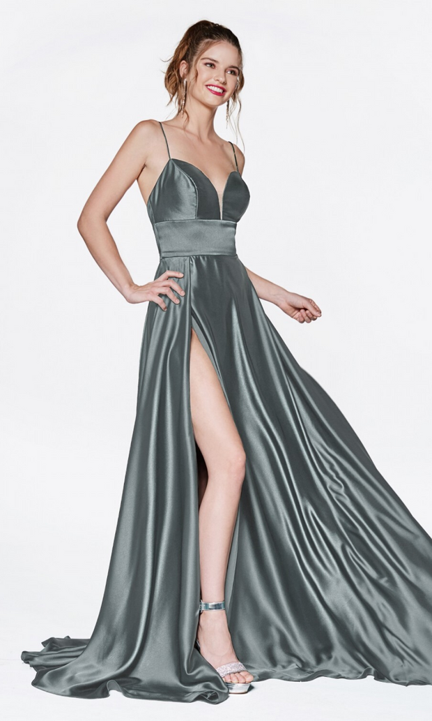 Cinderella Divine CJ523 long light green or eucalyptus satin dress with v neck, straps, & high slit. Plus sizes available.jpg