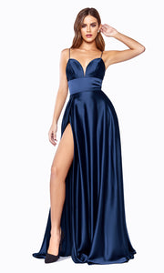 Cinderella Divine CJ523 long navy blue or dark blue satin dress with v neck, straps, & high slit. Plus sizes available.jpg
