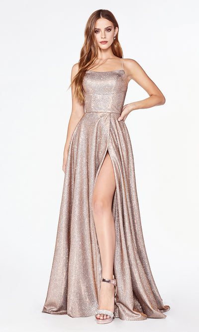 Cinderella Divine CJ525 long copper metallic high slit dress