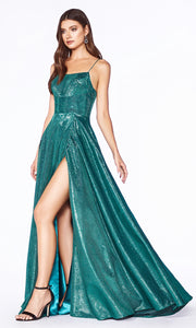 Cinderella Divine CJ525 long emerald green high slit dress