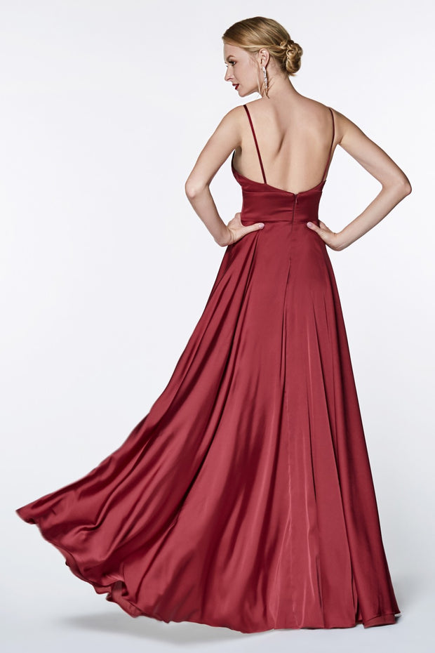 Cinderella Divine CJ526 long burgundy red dress with straps and 2 high slits. This simple & sexy dark maroon or wine party dress is perfect for bridesmaids, prom, wedding guest dress, dark red gala dress, fall wedding. Plus sizes available. Back