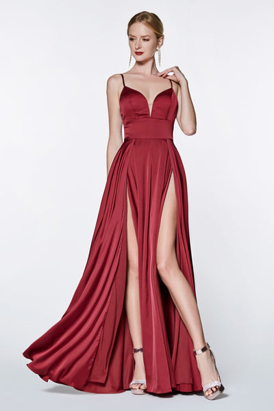 Cinderella Divine CJ526 long burgundy red dress with straps and 2 high slits. This simple & sexy dark maroon or wine party dress is perfect for bridesmaids, prom, wedding guest dress, dark red gala dress, fall wedding. Plus sizes available
