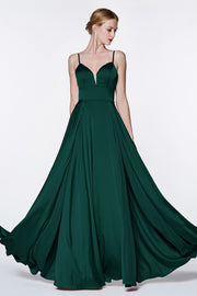 Cinderella Divine CJ526 long hunter green dress with straps and 2 high slits. This simple & sexy dark green or emerald party dress is perfect for bridesmaids, prom, wedding guest dress, dark green gala dress, fall wedding. Plus sizes available. Back