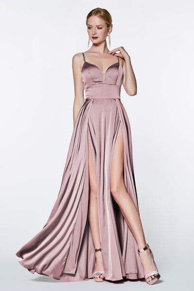 Cinderella Divine CJ526 long mauve pink dress with straps and 2 high slits. This simple & sexy dusty rose or light pink party dress is perfect for bridesmaids, prom, wedding guest dress, mauve pink gala dress, fall wedding. Plus sizes available
