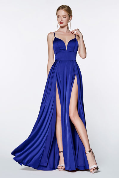Cinderella Divine CJ526 long royal blue dress with straps and 2 high slits. This simple & sexy blue party dress is perfect for bridesmaids, prom, wedding guest dress, royal blue gala dress, fall wedding. Plus sizes available