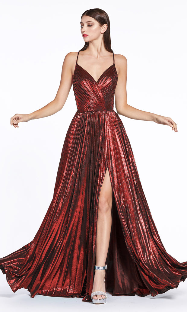 Cinderella Divine CJ531 long burgundy red metallic v neck dress with straps, high slit, and flowy skirt. Plus sizes available.jpg