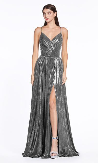 Cinderella Divine CJ531 long charcoal grey or dark gray metallic v neck dress with straps, high slit, and flowy skirt. Plus sizes available.jpg