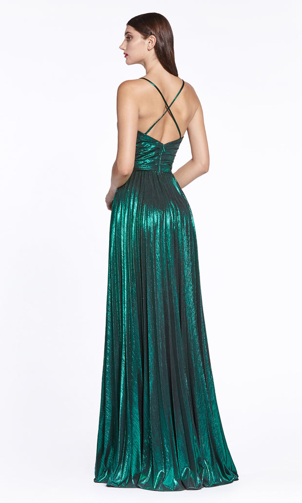 Cinderella Divine CJ531 long emerald green or dark green metallic v neck dress with straps, high slit, and flowy skirt. Plus sizes available. Back of dress is showing.jpg