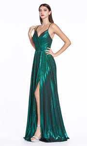 Cinderella Divine CJ531 long emerald green or dark green metallic v neck dress with straps, high slit, and flowy skirt. Plus sizes available.jpg
