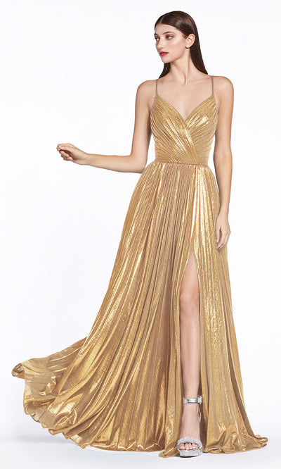 Cinderella Divine CJ531 long gold metallic v neck dress with straps, high slit, and flowy skirt. Plus sizes available.jpg