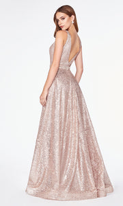 Cinderella Divine CJ533 long flowy v neck sequin beaded rose gold dress with wide straps and flowy skirt Close up of front of dress-back
