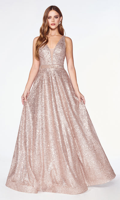 Cinderella Divine CJ533 long flowy v neck sequin beaded rose gold dress with wide straps and flowy skirt Close up of front of dress