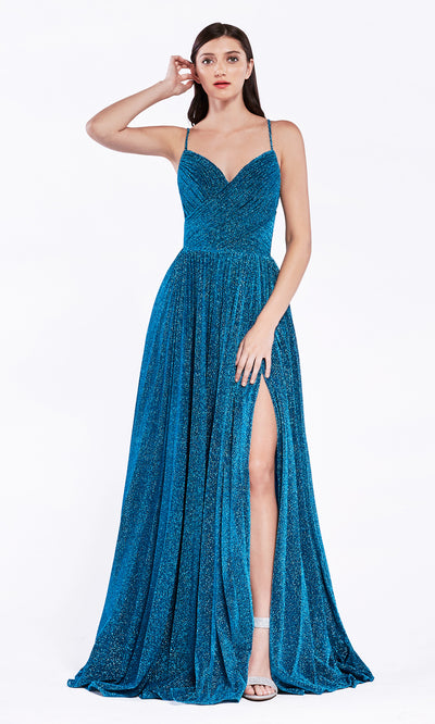 Cinderella Divine CJ534 long blue metallic evening dress with v neck, pleated skirt and straps. Plus sizes available-1.jpg