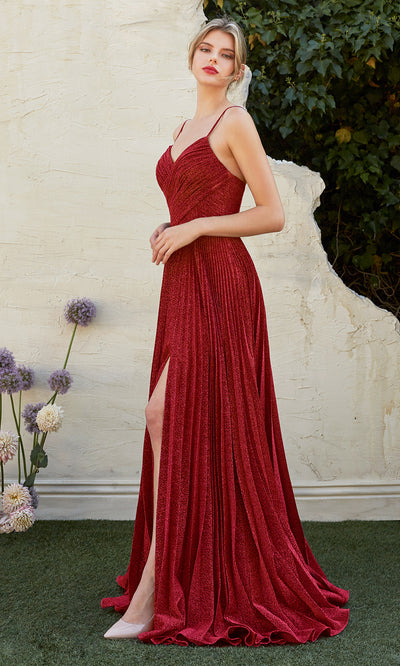 Cinderella Divine CJ534 long burgundy red metallic evening dress with v neck, pleated skirt and straps. Plus sizes available.jpg