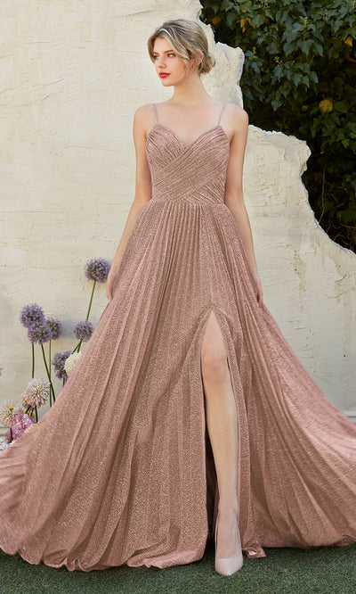 Cinderella Divine CJ534 long dusty rose metallic evening dress with v neck, pleated skirt and straps. Plus sizes available.jpg